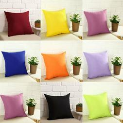 Plain Solid Color Throw Pillow Case Home Sofa Linen Cotton C