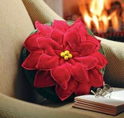Collections Etc Poinsettia Christmas Accent Pillow