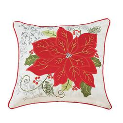 Collections Etc Pretty Poinsettia Pillow Cover