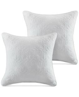 Madison Park Quebec Quilted Square Pillow Pair Grey 20x20