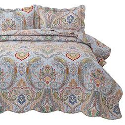 Quilted Bedspread King Size 3 Piece 1 Quilt 2 Pillow Shams 1