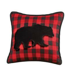 Red and Black Plaid Bear Faux Fur Decorative Throw Pillow -