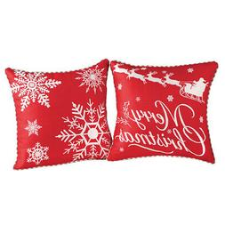 Collections Etc Red & White Christmas Pillow Covers