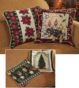 Collections Etc Reversible Holiday Throw Pillow Covers - Set