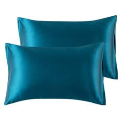 Bedsure Satin King Size Pillow Cases Set of 2, Teal, 20x40 i