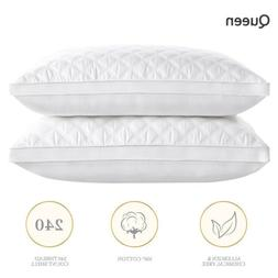 Set of 2 School Hotel Quality Pillow Plush Cotton Cover Skin