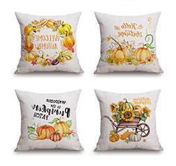 Emvency Set of 4 Linen Throw Pillow Covers 18x18 Inches Home