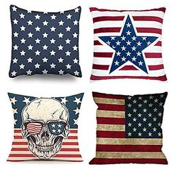 Emvency Set of 4 Throw Pillow Covers American Flag Patriotic