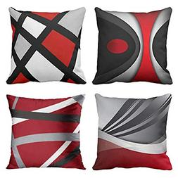 Emvency, Set of 4 Throw Pillow Covers,Red Gray Black Stripes