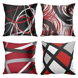 Emvency Set of 4 Throw Pillow Covers Red and Black White Gra