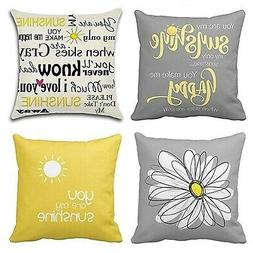 Emvency Set of 4 Throw Pillow Covers You are My Sunshine Yel