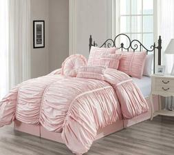 Chezmoi Collection Shabby Chic Ruched Ruffle Duvet Cover Set