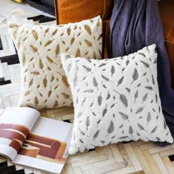 Soft Throw Pillow Case Fur with Printing Leaves Couch Bed Sq