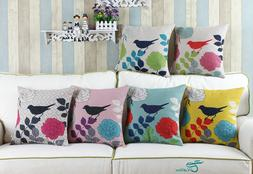 CaliTime Throw Pillows Shells Covers Home Decor Leave Floral