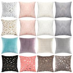 Throw Pillow Cover Case Velvet Soft Striped Feather Sequin f