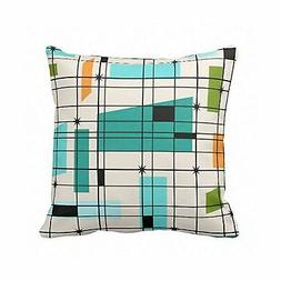Emvency Throw Pillow Cover Teal Mid Retro Grid and Orange Ce