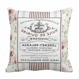 Emvency Throw Pillow Cover Vintage French Ticking Floral