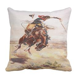 Emvency Throw Pillow Cover Vintage Wild West Cowboy On Bucki
