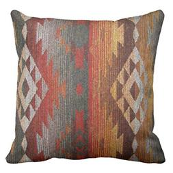 Throw Pillow Cover Western Navajo Orange and Grey Southwest.