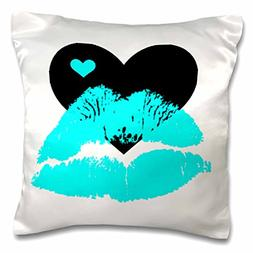 3dRose Turquoise Smooches Lips With A Black and Turquoise He