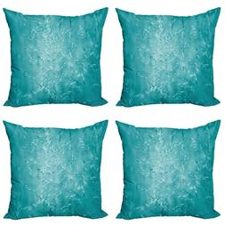 Turquoise Throw Pillow Cushion Case Pack of 4, Blur Meadow G